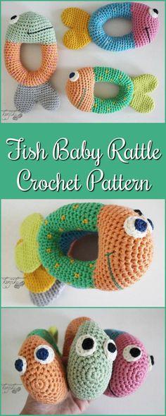Fish Baby Rattle | Baby Rattle | Fish Baby Toy | Baby Toy | Fish Pattern | Fish Amigurumi Pattern #etsy #crochet #patternsforcrochet #baby #ad #diy