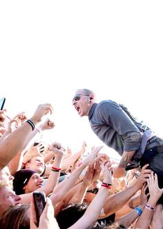Chester......I hope you do not get hurt or something else...those fans look like there really trying to grab you!