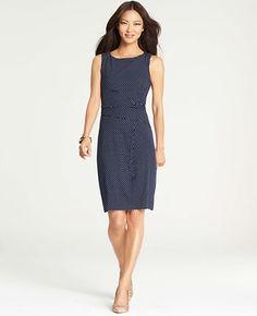 Dot Print Tucked Waist Dress