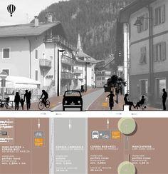 Piste ciclabili e ciclovie, piano per la rete di Predazzo Jeddah, Viera, Urban Design, Landscape Architecture, Photoshop, Layout, Board, Ideas, Dibujo