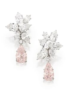 Magnificent Pair of Platinum, Fancy Pink Diamond and Diamond Pendant-Earclips - Sothebys