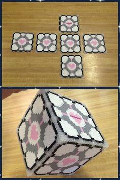 Companion cube perler beads by jnjfranklin on deviantART