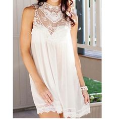 "HIGH NECK MINI SHIFT DRESS W/LACE NWT Cream Ivory High Neck Mini Shift Dress With Lace. Perfect for music festivals! Didn't come w/fabric label, per website: 100%Polyester; Non-stretchable unlined, sheer. Approx Length:32"". Condition:NWT, however has light cosmetic makeup stains on inside collar area from trying on, but not visible when wearing. Sold AS IS. Final sale. ❌NO TRADES ❌No Offsite Transactions ✅ All Price Negotiations are handled strictly through the OFFER Feature Only. Lowball…"