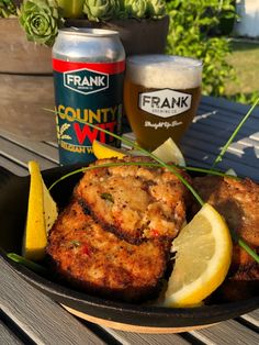 "FRANK Brewing Co. County WIT Belgian Wit Beer with Trout Cakes. It's Fri-YAY…get ""WIT it"" this weekend! 😎 🍺 is an absolute refreshing way to enjoy some summertime citrus! Coriander Spice, Onion Vegetable, Essex County, Minced Onion, Complete Recipe, Cake Ingredients, Brewing Co, Wineries, Trout"