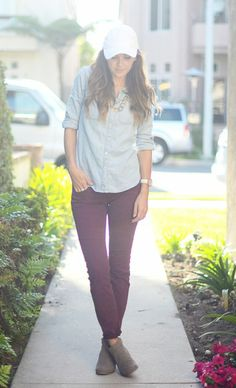 5 White Clothing Pieces You Can Wear All Year Long Burgundy Pants, Purple Pants, Clothing Items, White Clothing, White Caps, Hot Outfits, White Denim, Girly Girl, Timeless Fashion