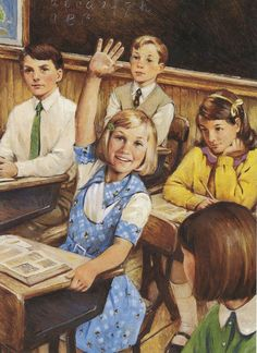 "American Girl Kit Kittredge always puts her hand up for everything at school. From her book ""Kit Learns A Lesson""."