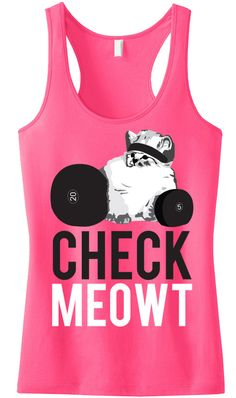 I Love this #Workout tank! CHECK MEOWT Pink Racerback Tank Top. By NobullWomanApparel, $24.99 on Etsy.