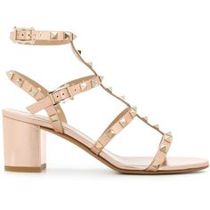 Valentino Rockstud Leather Sandals (1,325 CAD) ❤ liked on Polyvore featuring shoes, sandals, bronze, thick heel sandals, leather sandals, embellished leather sandals, leather shoes and embellished shoes
