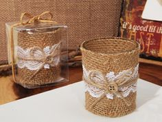 Lace And Burlap Rustic Candle Holder #rustic #candleholders #burlap