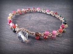 Gemstone crochet bracelet, Bohemian colorful, Boho Chic, Dainty, multi color