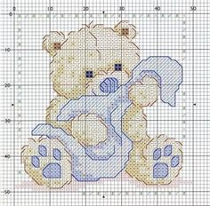 Teddy Bear and Blankie Free Cross Stitch Chart Pattern Needlepoint ~ teddies & babies just go together ~ CROSS-STITCH Free Cross Stitch Charts, Baby Cross Stitch Patterns, Cross Stitch For Kids, Cross Stitch Cards, Cross Stitch Animals, Cross Stitch Designs, Cross Stitching, Cross Stitch Embroidery, Embroidery Patterns