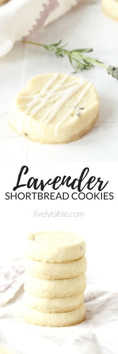 Soft and buttery lavender shortbread cookies with a light glaze are the perfect spring time treat! With only 6 ingredients, they are so easy to make. | via livelytable.com
