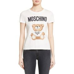 Women's Moschino Teddy Bear Logo Tee ($225) ❤ liked on Polyvore featuring tops, t-shirts, white, baby doll tops, white fitted tee, babydoll t shirt, babydoll tee and white top