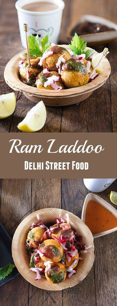 Ram laddoo is crispy outside and fluffy inside topped with green chutney and radish is best Indian street-side snack ever in winters you can find on Delhi streets. Ram laddoo is the only deep fried snack that I can't resist most of the times. Till the dat Vegan Indian Recipes, Veg Recipes, Snack Recipes, Cooking Recipes, Recipies, Pakora Recipes, Veggie Snacks, Tasty Snacks, Vegetarian Snacks
