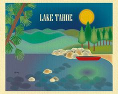 Lake Tahoe wall art is available in an array of finishes, materials, and sizes, this retro inspired wall art will make Lake Tahoe feel close to your heart with its bright color palette and unique desi