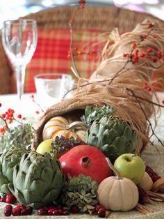 Thanksgiving centerpiece ideas: DIY Cornucopia >> http://www.hgtvgardens.com/thanksgiving/thanksgiving-centerpiece-ideas?soc=pinterest