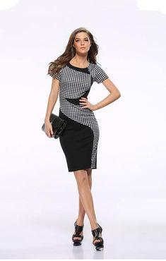 598521505a50 USA SIZE Black and white plaid stitching slim slim elastic bag hip pencil  skirt dress Casual