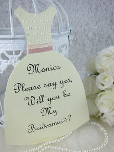 Personalized Bridesmaid Proposals card, Dress card invitation