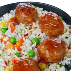 These glazed meatballs are delicious served on a bed of colorful rice or with noodles.. Glazed Meatballs Recipe from Grandmothers Kitchen.