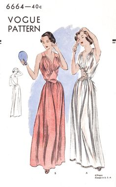 983e914ae9 1940s 1950s Vogue 6664 vintage lingerie sewing pattern lace negligee long  gown bust 32reproduction Lingerie Patterns
