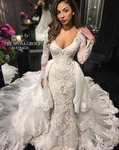 """""""The beauty and magic of a #DetchableTrain  Available now in our Sydney boutique!  Please email us at info@thesposagroup.com.au for all enquiries xx…"""""""