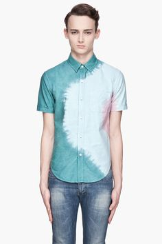 BAND OF OUTSIDERS Green and blue Engineered Rainbow Shirt. Minus the little pink patch.