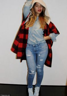 Denim diva: Beyoncé showed off her style skills on Instagram on Tuesday in a casual but co...