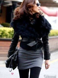 belted leather w/fox collar, grey wool skirt, opague stockings - fall fashion style #streetstyle #chic