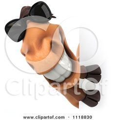 Clipart Of A 3d Happy Horse With Sunglasses Smiling Around A Sign - Royalty Free CGI Illustration by Julos