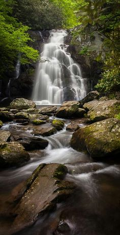 Beautiful waterfall in the Smoky  Mountains