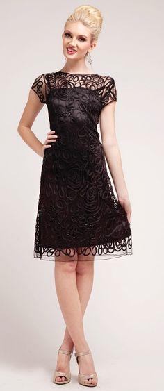 David meister Short-Sleeve Lace Beaded Cocktail Dress in Brown | Lyst