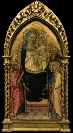 Lippo d'Andrea di Lippo - Madonna con Bambino e quattro santi  -  Tempera su tavola, fondo oro - Collezione privata