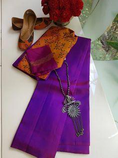 925 Silver by PraDe Kacheevaram and Silver . Saree Blouse Neck Designs, Saree Blouse Patterns, Trendy Sarees, Fancy Sarees, Modern Saree, Saree Trends, Saree Look, Elegant Saree, 925 Silver
