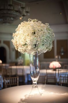 babys breath centrepiece - want this volume for bouquet also. Floral Centerpieces, Wedding Centerpieces, Wedding Table, Floral Arrangements, Wedding Reception, Our Wedding, Dream Wedding, Wedding Decorations, Tall Centerpiece