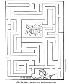 Free, printable mazes for kids are fun! Printable Mazes - Activity for kids Mazes For Kids Printable, Worksheets For Kids, Free Printables, Kids Mazes, Kids Puzzles, Maze Puzzles, Pirate Activities, Book Activities, Toddler Activities