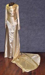 Stunning liquid silk wedding dress, late 1930s or early 1940s