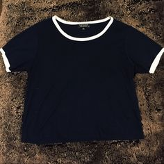 Cropped navy Topshop tee In great condition cropped tee shirt with white rings on the neck and sleeves Topshop Tops Tees - Short Sleeve