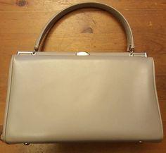 Vintage, Light Gray, Leather, Baguette/Pocket Book, Handbag (1960's) #Unbranded #Baguette