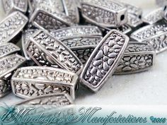 {50} Antq Silver Finish Squared Oval Beads 12x5mm. Starting at $5 on Tophatter.com!
