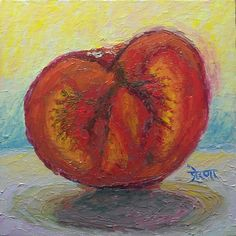 """Art by Prerana Kulkarni - 30 Paintings in 30 days: Day 3: """"Backlit Tomato Slice"""", 6 x 6 inches, Oil on Canvas Panel Available here: https://www.etsy.com/shop/preranap"""