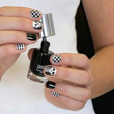 A little Poisoned goes a long way with these other complimenting designs. Keep it simple yet festive with these black and white designs this Halloween!   #poisoned #blackwhite #simple #festive #skulls #halloween #october #jamberry #jamberrynails #nailwraps #nails #manicure #jamicure #stripes #checkerboard #black #blackandwhite