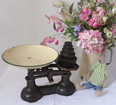vintage kitchen scales and old fashioned flowers • CWA Australia recipes