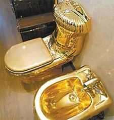 """Called """"Moscow"""", the gold-plated toilet was displayed in Russia and priced at about 250,000 Euros."""