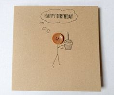 Items similar to Button head stick man happy birthday card, Hand drawn birthday card, hand made card for birthdays on Etsy Birthday Card Drawing, Birthday Card Design, Cute Birthday Cards, Handmade Birthday Cards, Diy Birthday, Love Cards, Diy Cards, Button Cards, Diy For Men