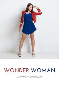 #wonderwoman #dc #justiceleague #comics #dress #disney #woman #girl Dc Superhero Girl, Dc Clothing, Wonder Woman Outfit, Casual Outfits, Girl Outfits, Skater Dress, Corset, Leather Jacket, Comics