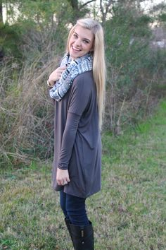 Our favorite grey tunic... so soft! http://www.sidelinesass.com/collections/piko-collection/products/piko-tunic-grey