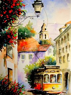 travel in lisbon, watercolor ,by Almeida Coval