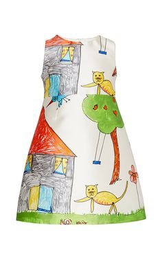 DOLCE & GABBANA Kid's Drawing Cat And House Print Dress
