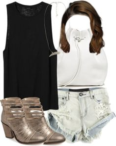 #MaliaTate Inspired Test Day Outfit by veterization featuring a sheer tank top Monki sheer tank top, $6.68 / One Teaspoon short shorts, $88 / Free People cut-out ankle boots / Mansur Gavriel white handbag... #TeenWolf