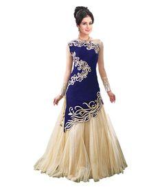 Buy Godavari Fashion Hub Blue Georgette Anarkali Gown Semi Stitched